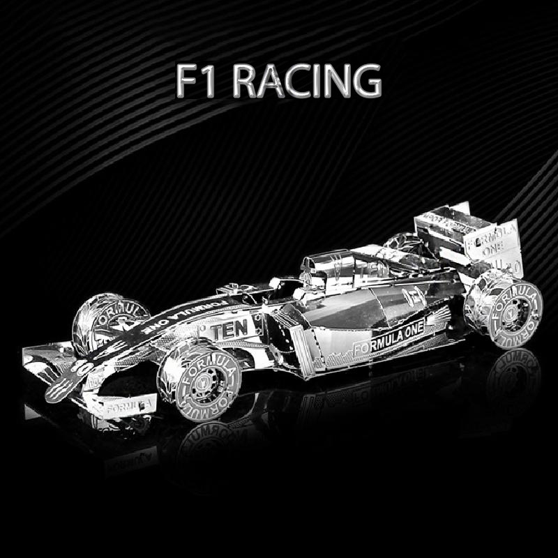 3D Puzzle Metal Model Kit F1 Racing Car Voiture Assembly DIY Laser Cut Toy Collection Prefabricated Puzzle Models Toy For Adults