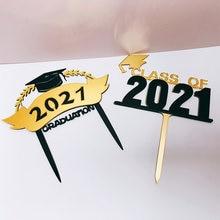 Klasse von 2021 Kuchen Topper Congrats Grad Acryl Cupcake Topper Für 2021 Promotionen College Feiern Partei Kuchen Dekorationen