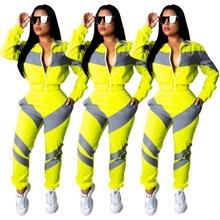 Adogirl casual women zip-up two pieces sets windproof patchwork sports suits long sleeve autumn wind coat suits plus size sets