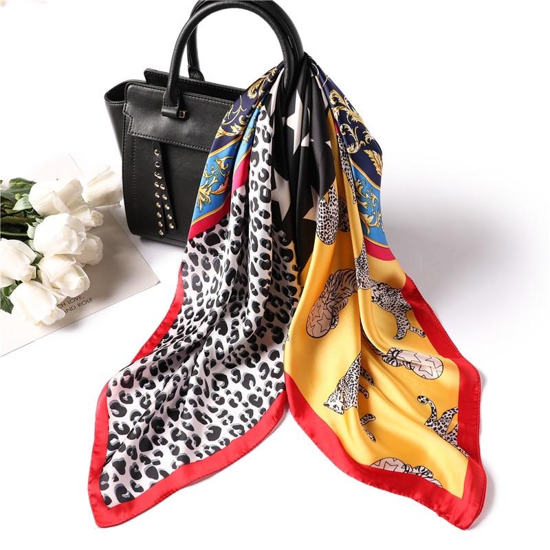 YISHLINE 70cm Luxury Women Scarf Square 4 Patterns Cartoon Silk Feel Satin Scarfs Skinny Elegant Ring Headband Best Gifts