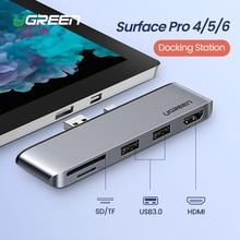 Ugreen USB 3.0 HUB USB to USB3.0 พอร์ต HDMI SD/TF Docking Station สำหรับ Microsoft Surface Pro 4 /5/6 Splitter HUB อะแดปเตอร์ USB