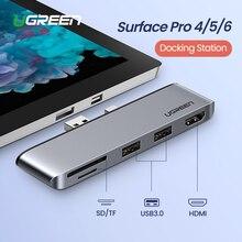 Ugreen USB 3.0 허브 멀티 USB USB3.0 포트 HDMI SD/TF 도킹 스테이션 Microsoft Surface Pro 4/5/6 스플리터 어댑터 허브 USB