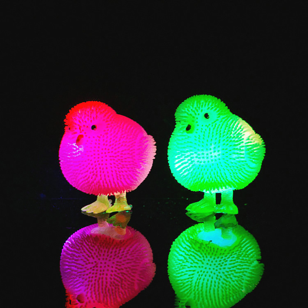 Cute Chickens Squidgy LED Flashing Puffer Ball Squeeze Stress Relieve Kids Toy