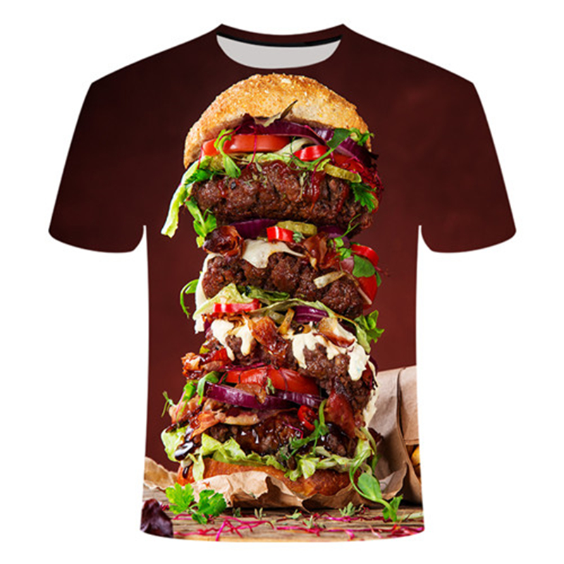 Summer 3D Food T Shirt Men Women Harajuku Hamburger 3d Print Tshirt Casual Funny Tops Tees Unisex 3d Burger T Shirts
