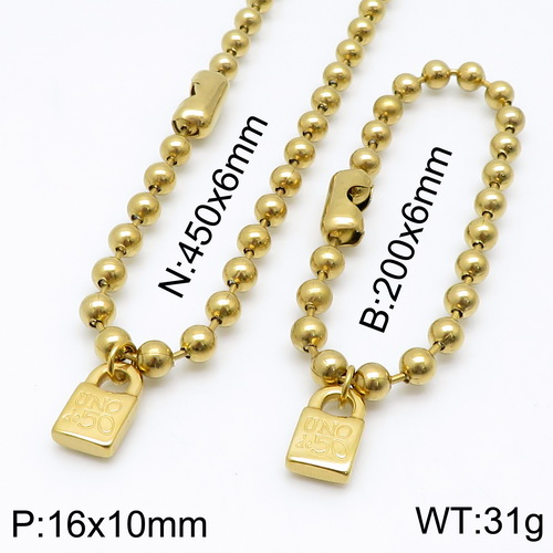 Fashion Women Men Silver Color Gold Stainless Steel Round Lock Key Uno 50 Ball Bead Bracelet Necklace Jewelry Sets