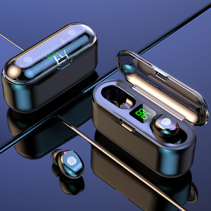 Dual Microphone Wireless Earphones F9 TWS Headphone 9D Stereo Music Headset Bluetooth 5.0 Touch Earbud With 1200mAh Charging Box