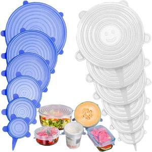 12Pcs Elastic Silicone Bowl Lids Reusable Refrigerator Food Salad Cups Jar Cover