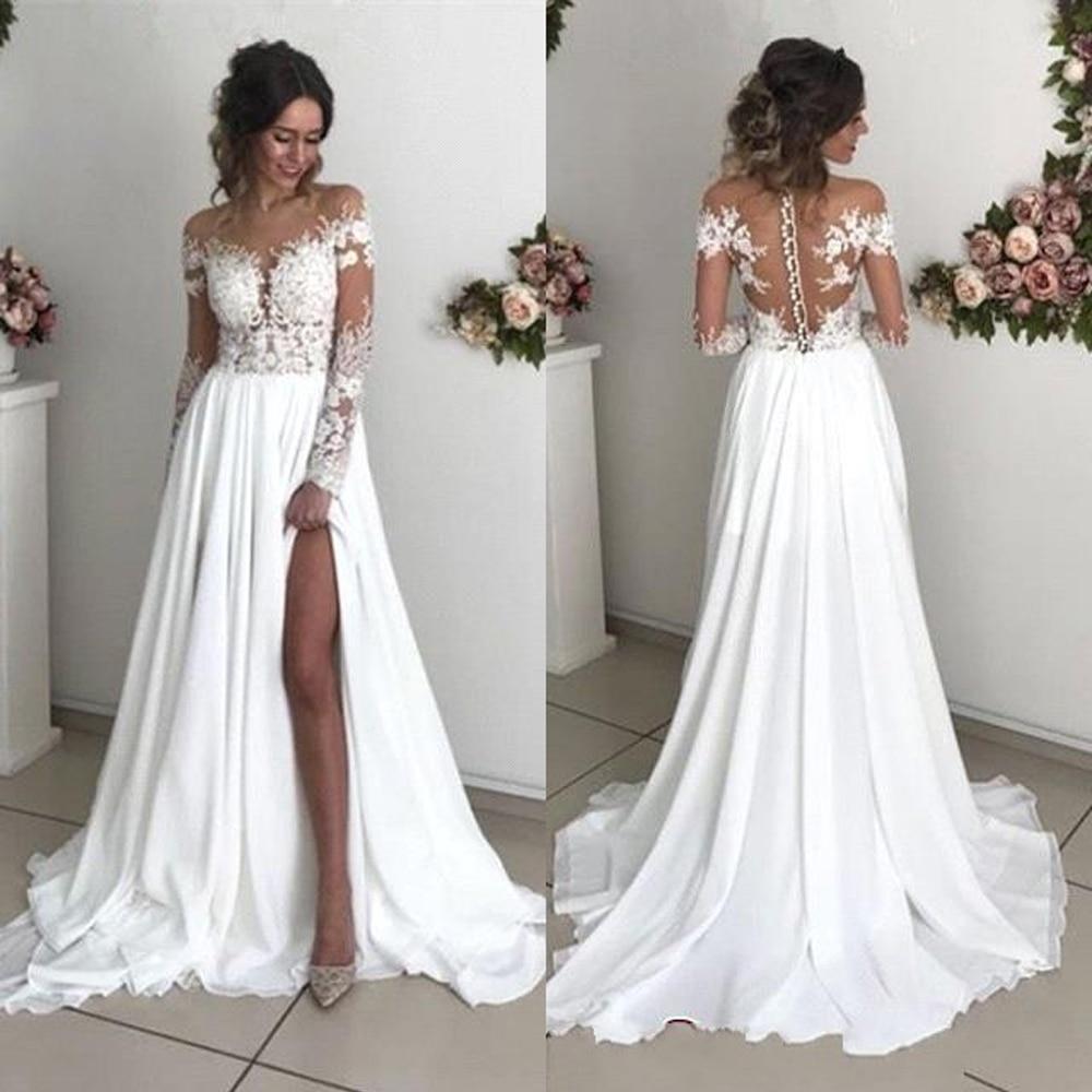 Robe De Mariage Long Sleeve Lace Wedding Dresses Elegant Scoop Neck Sheer Back Beach Chiffon Bride Gowns Wedding Gowns