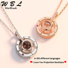 New Rose Gold Silver Love Memory Wedding Necklace I love you 100 languages Projection Pendant Necklace Drop Shipping 2019(China)