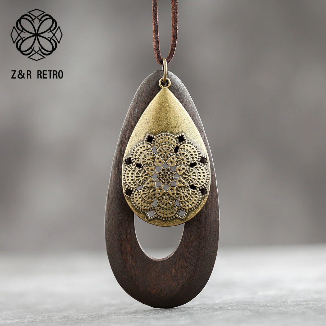 Long Chain Geometric Pendant Wooden Necklaces &Pendants Sweater Accessories Necklaces Handmade Fashion Jewelry Gifts For Women