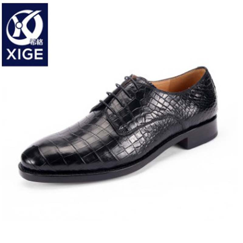 xige manufacturer  custom  crocodile  Leather men shoes  male  business  A suit  Leather shoes   new  belly  high-end