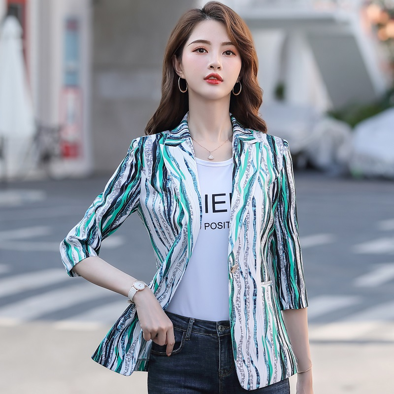 Women Blazers Slim Spring Autumn Printing Jacket Half Sleeve Blazer & Suits Women 986