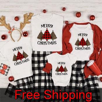Wesołych świąt rodzinne koszule rodzinne świąteczne koszulki mamusia i ja T-Shirt rodzina pasujące ubrania świąteczne tanie i dobre opinie Gourd doll CN (pochodzenie) Na co dzień Krótki Pasuje prawda na wymiar weź swój normalny rozmiar COTTON Drukuj Matka Ojciec Dzieciak