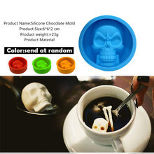 Ice Cube Maker Pop Halloween 3D Skull Silicone Mold Chocolate Fondant Cake Making Baking Mould For Kitchen Whiskey Tool(China)
