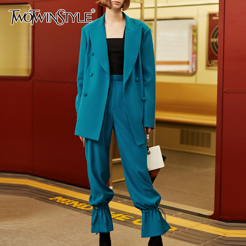 TWOTWINSTYLE Vinatge Two Piece Sets Female Lapel Collar Long Sleeve Blazers High Waist Drawtring Pants Causal Suit Women Fashion