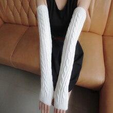 1 пара зимних женских перчаток для девочек, Длинные наполовину вязаные рукавицы для верховой езды, зимние рукавицы