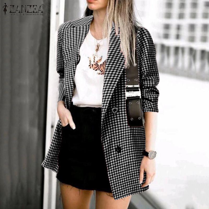 ZANZEA Plus Size Office Lady Blazers Women Check Blazer Casual Pockets Blazer Feminino Plaid Lapel Buttons Chaqueta Mujer 5XL