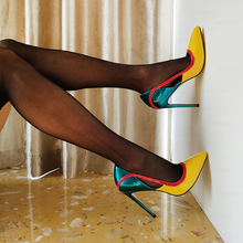 LAIGZEM Chic Women Heels Stiletto High Heels 12CM Pointy Toe Pumps Wedding Party Dress Ladies Shoes Woman Big Size 38 42 43 47