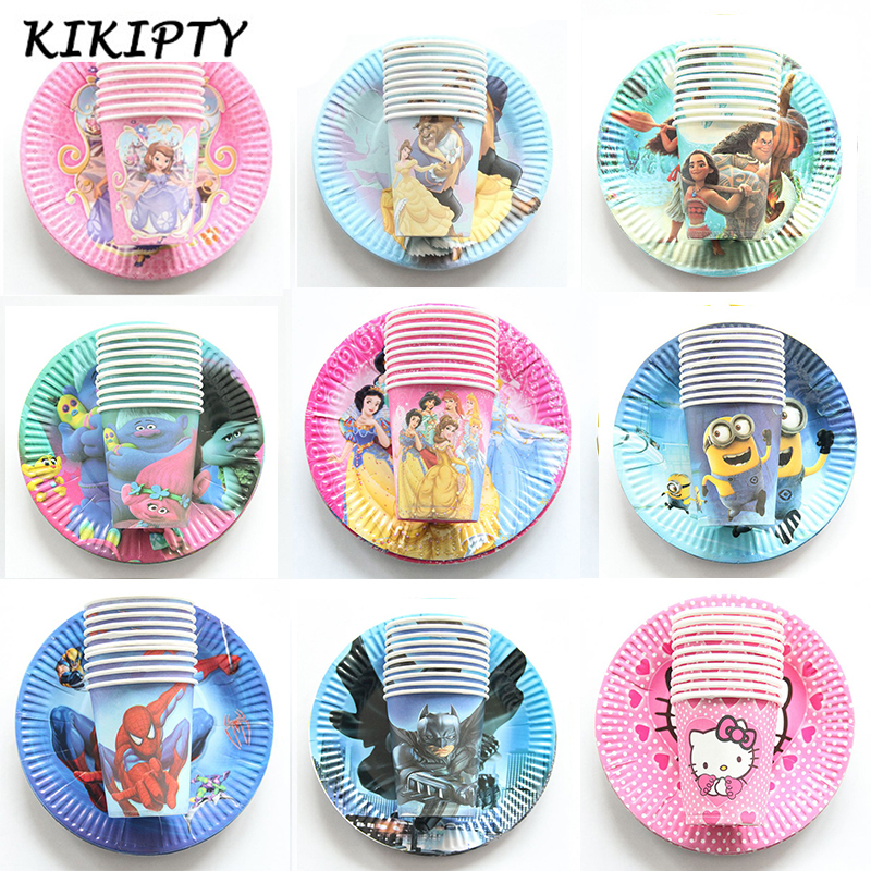 20pcs Cartoon Unicorn/Spiderman/Avenger/princess Disposable Tableware Sets Paper Plates+Cups Wedding kids Birthday Party Supplie-in Disposable Party Tableware from Home & Garden