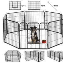 8pcs Foldable Pet Playpen Crate Iron Fence Puppy Kennel House Exercise Training Puppy Kitten Space Dog Gate Supplies HWC