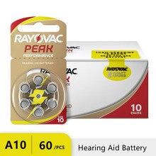 60 PCS Rayovac PEAK 고성능 보청기 배터리. Bte 보청기 용 아연 공기 10/a10/pr70 배터리. 무료 배송!