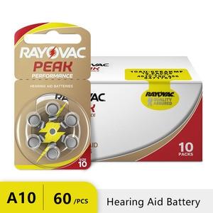 Image 1 - 60 sztuk Rayovac PEAK wysokowydajne baterie do aparatów słuchowych. Bateria cynkowa 10/A10/PR70 do aparatów słuchowych BTE. Darmowa dostawa!