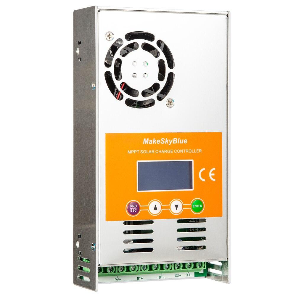 Makeskyblue mppt controlador de carga 30a 40a 50a 60a 100a 120a para 12 v 24 v 36 48 v 72 v 96 v versão do sistema v118 display lcd