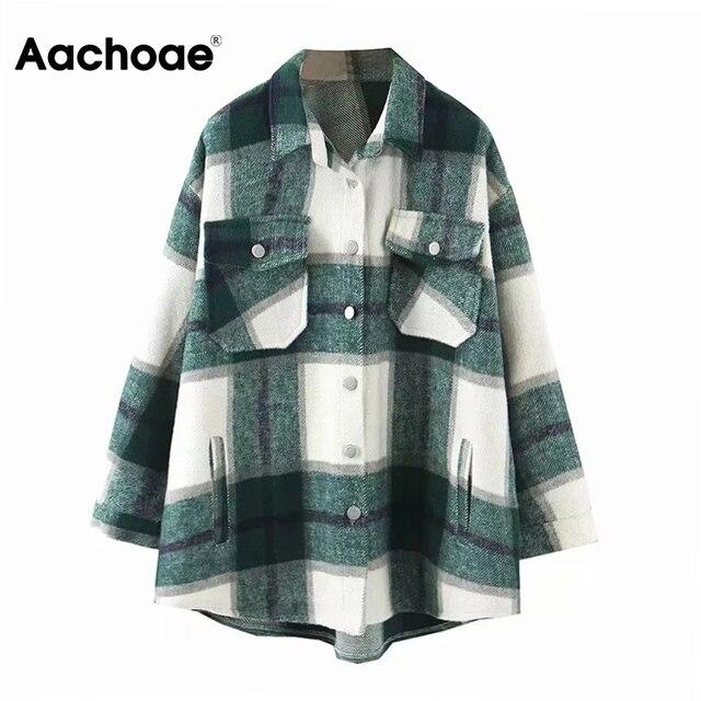 Aachoae – Veste en laine ample et décontractée à carreaux pour femme, col rabattu, moderne, manteau d'automne avec poche, manches longues, de différentes couleurs 4