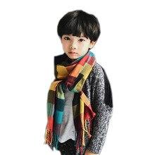 Шарф для родителей и ребенка; сезон осень-зима; Корейский детский толстый шарф; длинный шарф с воротником в клетку; теплая шаль