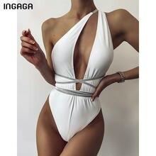 INGAGA-bañador cortado de una pieza para mujer, traje de baño de un hombro, bodys de corte alto, trajes de baño Sexy con cinturón, bañadores blancos 2021