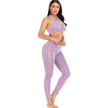 Women Seamless Yoga Set Sexy Mesh Cross Strap Hollow Fitness Sports Suit Grid Set Workout Gym Suit Yoga Clothing women yoga set tai chi kungfu meditation uniforms linen chinese traditionl loose wide yoga pant yoga shirt casual outfit set