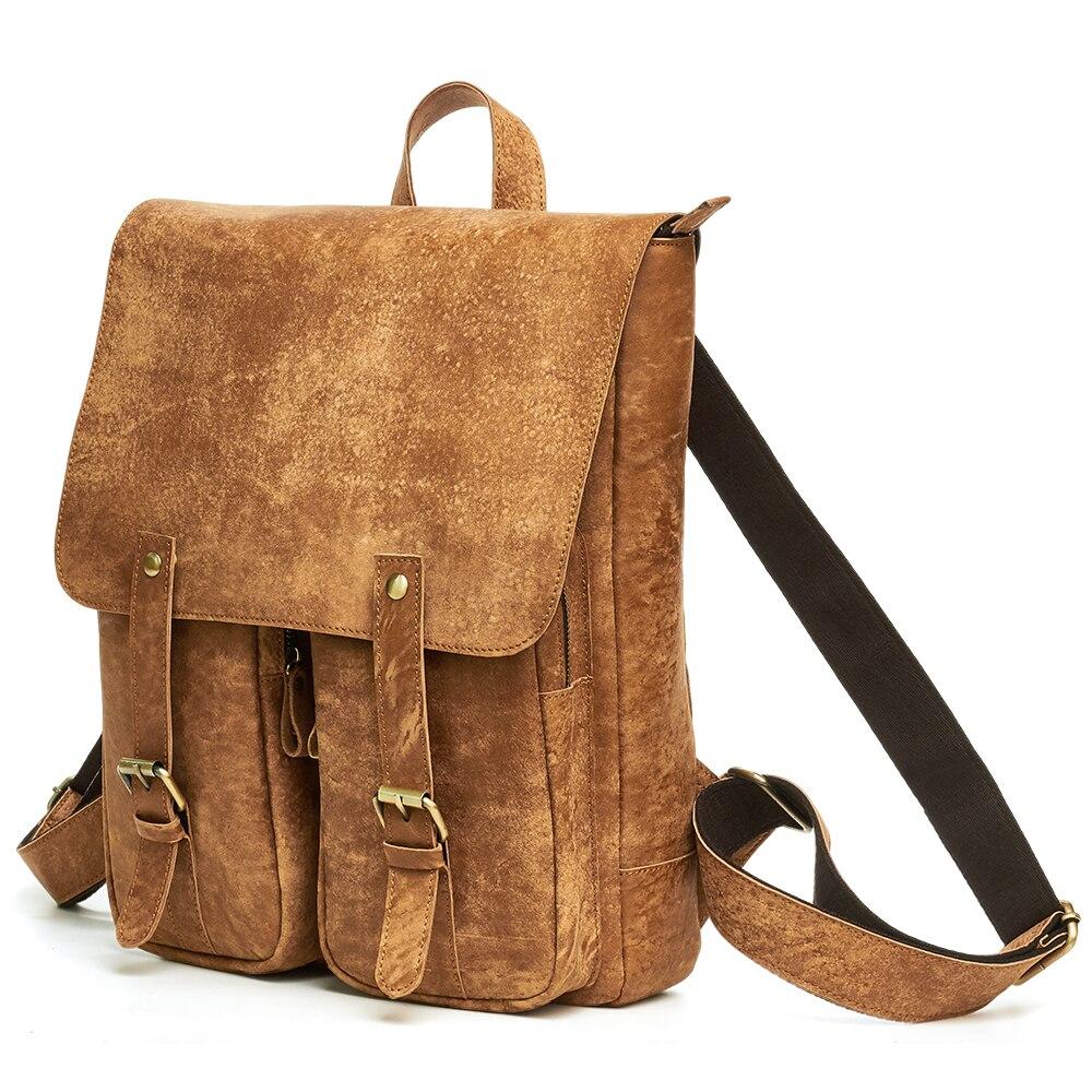 Sacs d'école en cuir véritable pour hommes sacs à dos pour adolescents sac à dos Vintage Mochila sac à dos en cuir pour hommes sacs de voyage pour hommes