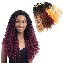 14 inch Synthetic ombre Afro freetress water wave crochet braiding hair