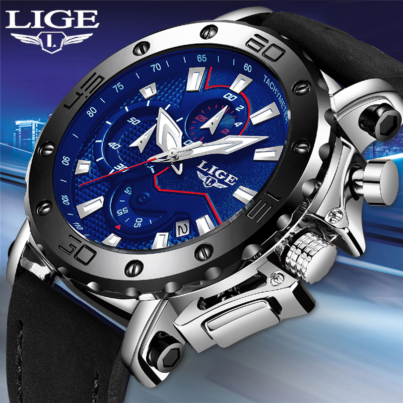 LIGE Luxury Brand Men Blue Leather Sports Watches Men's Army Military Watch Male Date Analog Quartz Clock Relogio Masculino 2019