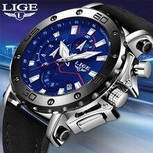 LIGE 高級ブランド男性ブルーレザースポーツはメンズアーミーミリタリー · ウォッチ男性日アナログクォーツ時計レロジオ Masculino 2019