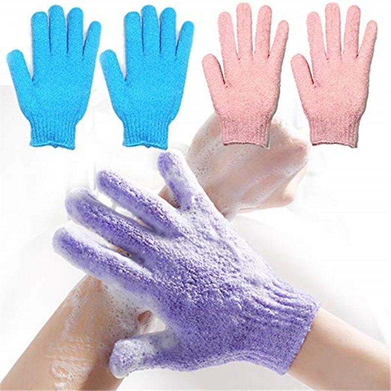 Exfoliating Bath Gloves Bathing Five-finger Gloves Children Bath Towel Colorful Soft Bubble Bath Towel Gloves 2 Pairs Pack NS