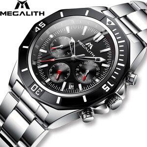 Image 1 - MEGALITH Männer Voller Stahl Uhr Sport Wasserdichte Uhr Männer Leucht Chronograph Uhren Marke Luxus Uhr Relogio Masculino 8206