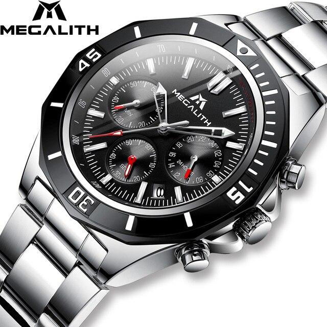 MEGALITH Männer Voller Stahl Uhr Sport Wasserdichte Uhr Männer Leucht Chronograph Uhren Marke Luxus Uhr Relogio Masculino 8206