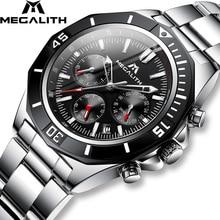 MEGALITH 男性フルスチールの時計スポーツ防水時計男性発光クロノグラフ腕時計ブランドの高級時計レロジオ Masculino 8206