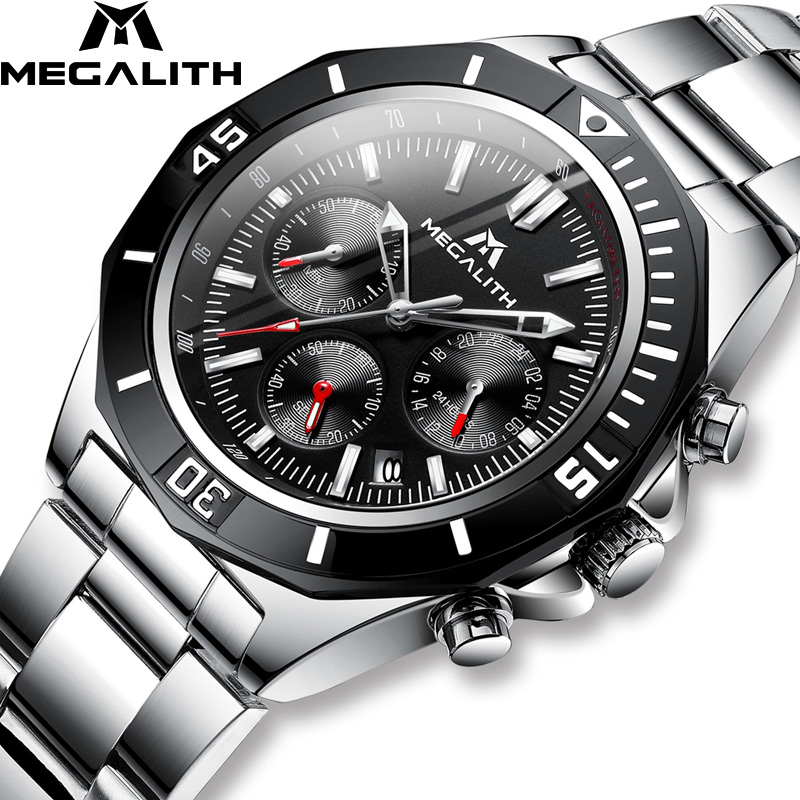 MEGALITH Men Full Steel Watch Sport Waterproof Luminous Chronograph Watches Brand Luxury Relogio Masculino 8206