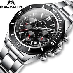 MEGALITH mężczyźni stalowy zegarek sportowy wodoodporny zegarek mężczyźni chronograf świecący zegarki marki luksusowy zegarek Relogio Masculino 8206 w Zegarki kwarcowe od Zegarki na