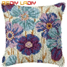 Kait Bantal Biru Bunga Sarung Bantal Digunakan Dicetak Warna Kanvas Benang Akrilik Umpan Hook Bantal Kit Crochet Bantal cover(China)