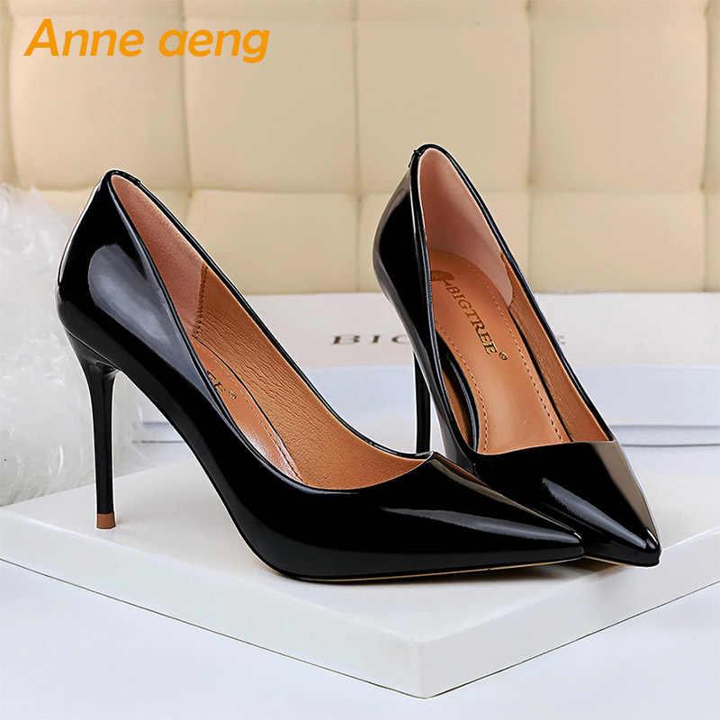 2019 neue Frauen Pumpen 9,5 cm Hohe Dünne Ferse Spitz Solide Shallow Mode Sexy Damen Frauen Schuhe Schwarz Weibliche hohe Ferse Pumpen