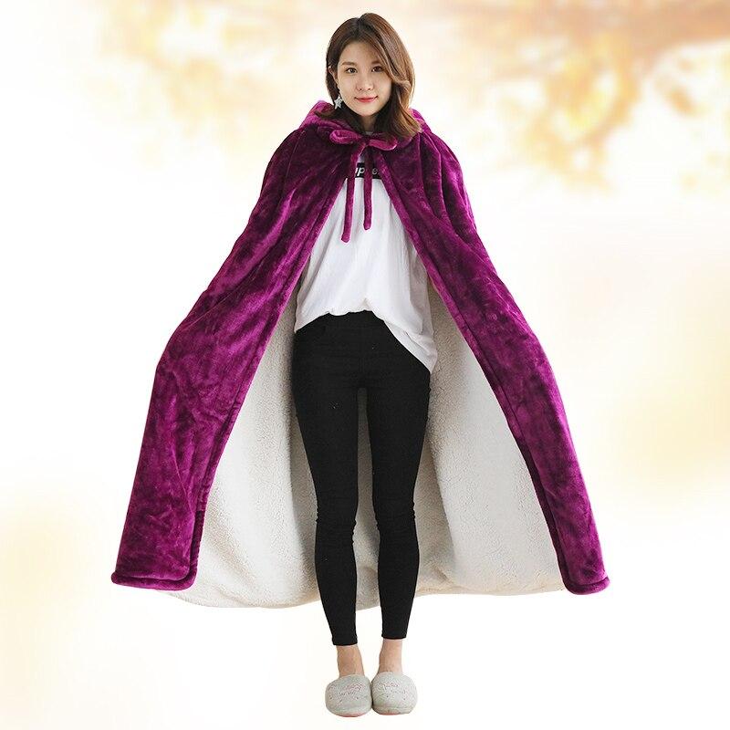 Одеяло с капюшоном, зимнее уплотненное Коралловое флисовое носимое одеяло, накидка, многофункциональная шаль, накидка, высокое качество, одеяло для ленивых - 5