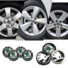 56/60/65mm Metal Car Wheel Center Caps Decoration for Skoda Logo Octavia 2 A7 Tour RS Superb Kamiq Fabia Rapid Kodiaq Yeti Karoq