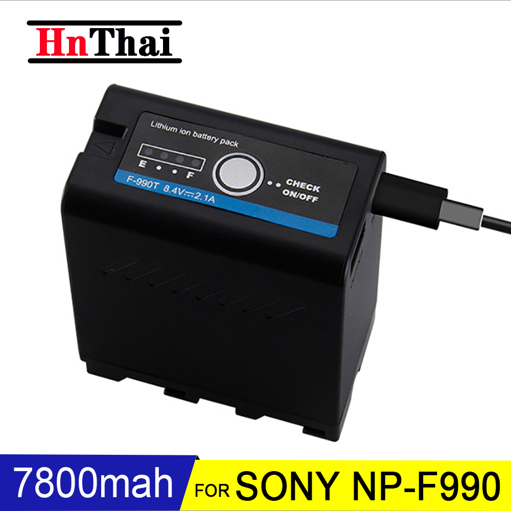 HnThai NP-F990 7800mAh Camera Battery For Sony NP-F550 NP-F570 F530 F730 F930 F950 F960 NEX-EA50 DSR-PD198P Power Bank Battery