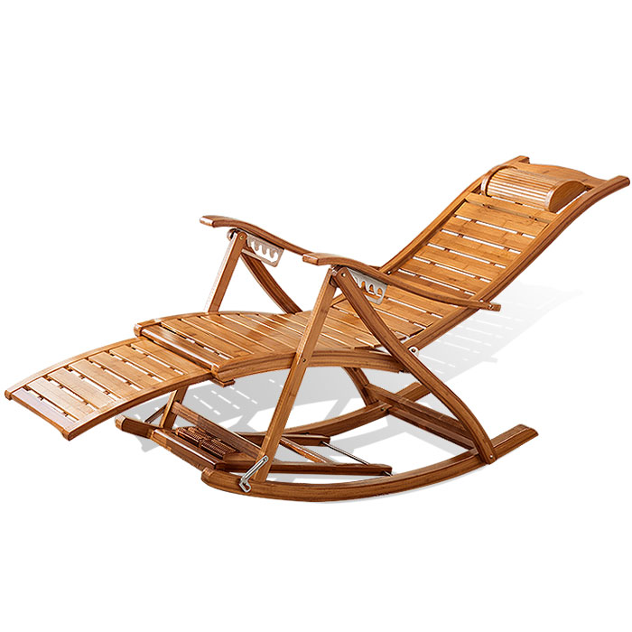 Recliner Folding Lunch Break Nap Home Folding Chair Balcony Leisure Backrest Self-contained Couch Portable Rocking Chair Bamboo