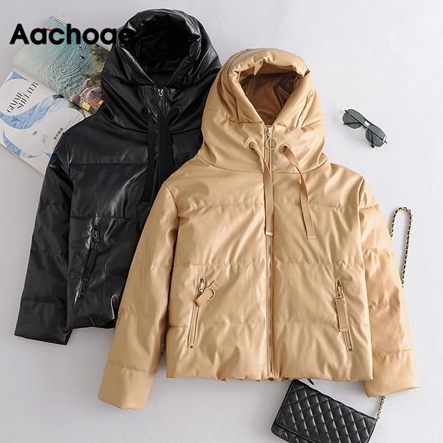 AACHOAE – Manteau en similicuir PU pour femme, rembourré, épais et chaud, parka à manches longues, 2020, hiver, veste à capuche, avec fermeture éclaire, hauts d'extérieur 5