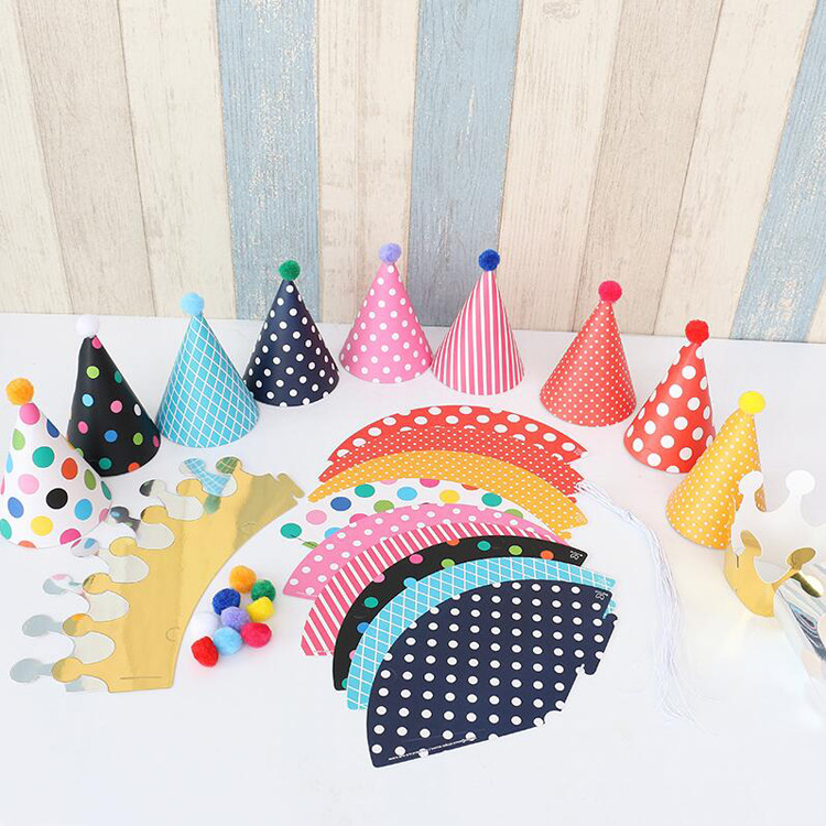 Party Hat Set-9 Party Hats + 2 Crown Hats, Children's Birthday Party Dot Pom Pom Party Hat Crown Hat