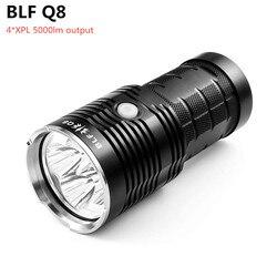 BLF Q8 4 * XPL 5000lm مصباح ليد جيب قوي 18650 المهنية الكشاف عملية متعددة